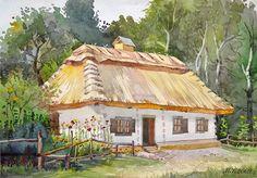 tanya Nail Desing 3 d nail designs Watercolor Landscape Paintings, Watercolor Paintings, Ukrainian Art, Country Living, 3 D, Folk, Illustration Art, Cottage, Exterior