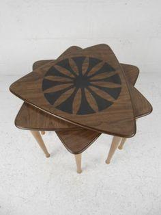 Set of Three Mid Century Triangle Nesting Tables 8464 J | eBay