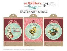 Printable Vintage Easter Gift Tags & Digital Paper