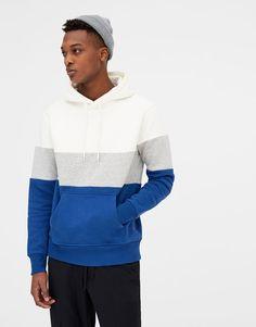 Blok renkli kapüşonlu sweatshirt - Sweatshirtler - Giyim - Erkek - PULL&BEAR Türkiye
