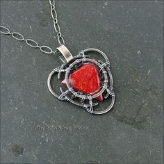 Strukova Elena - авторские украшения - Кулон с красным кораллом