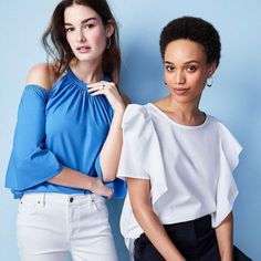 An even cooler way to wear poplin? Cold shoulders and statement sleeves, please. #AnnTaylor #MarketDistrict #Boston
