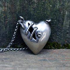 Sale Dark Sea Sutured heart necklace silver alloy sterling silver chain. $63.75, via Etsy.