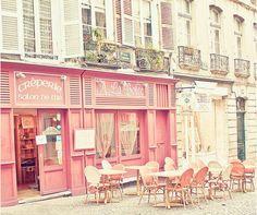 Pretty in Parisian pink, dining on crepes, in la belle France Pink Cafe, Belle France, Little Paris, Belle Villa, Paris Ville, Cafe Restaurant, Store Fronts, Quebec, Pretty In Pink