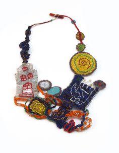 """JOYCE J. SCOTT HOUSE Neckpiece. 2013. Peyote-stitched glass beads, thread  14"""" x 7.5"""""""