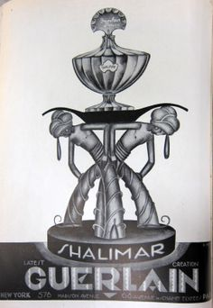 Beautiful advert for Shalimar perfume from Vogue, March 1927 (image via sighsandwhispers) First Perfume, Perfume Ad, Vintage Perfume Bottles, Vintage Advertisements, Vintage Ads, Vintage Images, Vintage Posters, Retro Posters, Anuncio Perfume