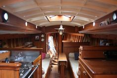 Beautiful boat interior in a Claud Worth inspired gaff cutter