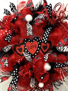 Deco Mesh Valentine Wreath Red Black Zebra Polka Dot Heart Door Wreath