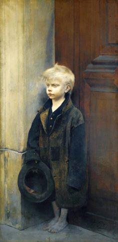 Fernand Pelez (French painter) 1843 - 1913, Petit Misère ou Mendiant au Chapeau (Misery or Little Beggar), s.d., oil on canvas 156.5 x 78.5 cm. (61 1/2 x 31 in.), signed lower right Pelez, private collection