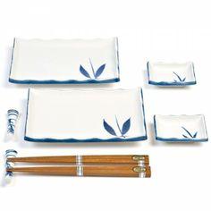 Tableware :: Japanese Plates :: Blue and White Bamboo Sushi Set - I kinda like these too
