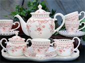 Pink Vine Fine China 12 pc Tea Set
