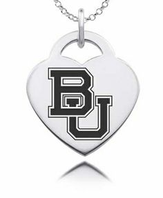 Baylor Bears heart charm in solid sterling silver // This would make such a great graduation present for Baylor Bear!
