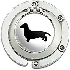 Dachshund Wiener Dog Foldable Table Bag Purse Caddy Handbag Hanger Holder Hook with Folding Compact Mirror