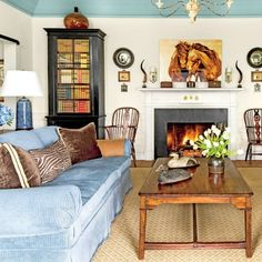 The Art of Living Small: Blue and White Living Room