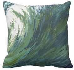 Pacific Wave Pillow Coastal Home Decor by Margaret Juul. www.margaretjuul.com