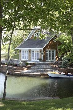 Lake House exterior design. Cedar shingles and white trim. #lakehouse