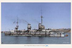 """Imperial Russian battleship """"Imperatritsa Mariya"""" at anchor in Sevastopol, Crimea."""