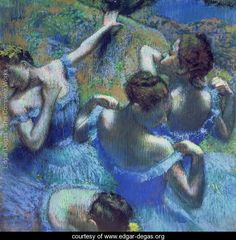 With soothing, cool hues of blue and green, this high-quality print titled 'Blue Dancers' will add an elegant accent to any room. Painted by Edgar Degas, this impressionist painting features four danc