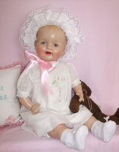 ANIMAL CRACKERS on Ruby Lane http://www.rubylane.com/item/970899-00200/Big-Happy-Composition-Baby-Doll-28x22 #composition #doll