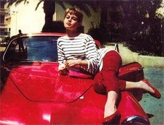 Love a gal who matches her car to her shoes.  Brigitte Bardot, 1960's
