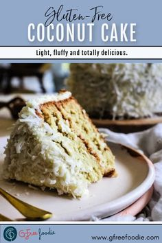 The gluten free homemade Coconut Cake is my favorite birthday/celebration cake. It's light, fluffy, sweet, and loaded with coconut flavor! No birthdays on the calendar? No worries! This dreamy dessert will turn any occasion into a celebration. #gfreefoodie #glutenfree #cake #coconuts #birthdaycake Best Gluten Free Recipes, Gluten Free Treats, Gluten Free Cakes, Gluten Free Desserts, Brownie Recipes, Cake Recipes, Dessert Recipes, Fun Recipes, Simple Recipes