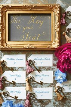 Wedding escort cards tied with luxe tassels and antique keys are perfect for your fairy tale wedding (BridesMagazine.co.uk)