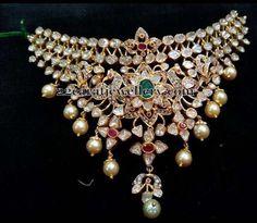 Pachi Work Broad Choker with Peacocks India Jewelry, Gold Jewelry, Jewelery, Fine Jewelry, Gold Necklace, Indian Jewellery Design, Jewelry Design, Bollywood Jewelry, Diamond Choker