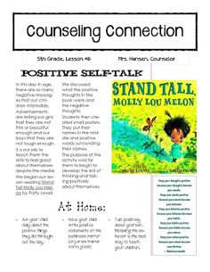 Newsletter home to explain self-talk lesson: awesome website for elementary lessons K-5