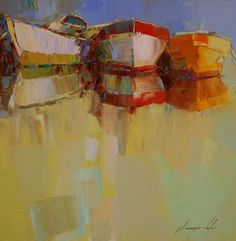 """Boats, Original oil Painting, Seascape, Handmade artwork by palette knife, One of a kind,. Artist: Vahe Yeremyan Work: Original oil Painting, One of a Kind Medium: Oil on Canvas Year: 2016 Style: Impressionism Subject: Boats, Size: 14"""" x14"""" x 3/4'' inch Gallery Estimated Value $1,100 Unframed, Stretched on wooden bar, Gallery Wrapped Yeremyan is an Armenian native who now makes his home in California. He is an honorable member of the Artist's Guild of Armenia and an active member of the…"""