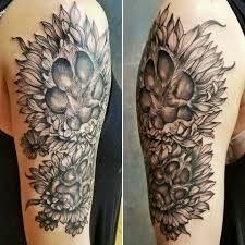 Tattoos For Dog Lovers, Dog Tattoos, Tatoos, Tattoo Designs, Flowers, Tattooed Guys, Royal Icing Flowers, Tattoo Patterns, Flower