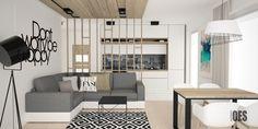 nowoczesny jasny salon, drewniana ściana ażurowa, oddzielenie między kuchnią a salonem, biała kuchnia