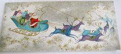 Vintage Christmas Card Santa, Sleigh & Purple & Blue Reindeer