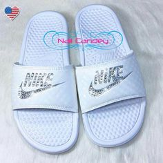 best service 0129d f3253 nike shoes Slide into Summer with these Sparkling Nike Slide Sandals!  Custom hand jeweled with genuine Swarovski Crystals, these Nike Benassi JDI  Sliders ...