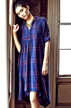 NEW Anthropologie Isabella Sinclair navy red plaid Homestead Shirtdress S $158 #IsabellaSinclair #hiloswingdress #Casual