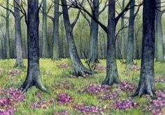 "Watercolor Original 4,5"" x 3 1/4"" Painting a Day Landscape by Elena Mezhibovsky"
