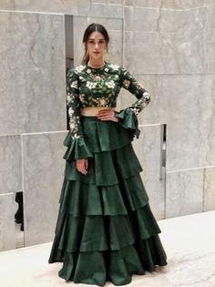 Looking for Beautiful bottle green lehenga with bell sleeved blouse and floral print along with a layered lehenga skirt? Browse of latest bridal photos, lehenga & jewelry designs, decor ideas, etc. Lehenga Skirt, Lehnga Dress, Anarkali, Green Lehenga, Lehenga Choli, Floral Lehenga, Bridal Lehenga, Lehenga Crop Top, Sabyasachi