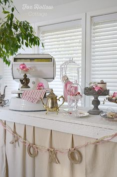 use vintage, diy and everyday items for Valentine's Day decorating! ideas at foxhollowcottage.com