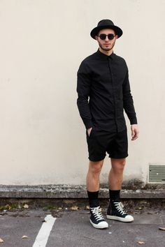 Black Lanoir Outfit and Rick Owens Ramones sneakers, Nicolas Lauer.