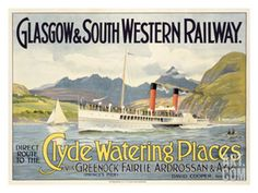 Glasgow Railway Steamship Poster Giclee Print at Art.com