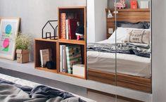 Nichos de madeira: 70 ideias e tutoriais para organizar a casa com estilo Decor, Furniture, Room, Interior, Home Decor, Bed, Room Divider, Interior Design, New Room