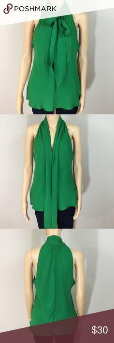 Banana Republic Silk Tie Neck Blouse Banana Republic emerald green silk tie neck sleeveless top. Perfect for St. Patrick's Day! Banana Republic Tops Blouses