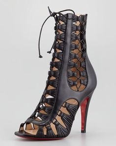 Christian Louboutin Azimut Cage Lace Up Leather Ankle Boots Booties Sandals 37.5