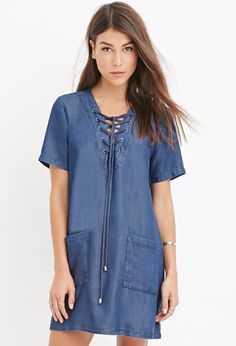 Life In Progress Lace-Up Chambray Dress | Forever 21 - 2000180598, short sleeve, $24.90