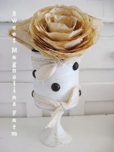 Upcycled Can ...Rustic Romance..Pedestal Pen Pencil Holder .. Flower Vase.. Silverware container..
