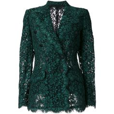 Dolce & Gabbana double breasted lace blazer ($4,675) ❤ liked on Polyvore featuring outerwear, jackets, blazers, green, green blazer jacket, green blazers, formal blazers, blazer jacket and formal jacket
