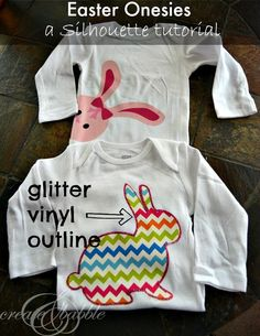 Make Easter Onesies with a glitter vinyl outline to mimic the look of embroidery.