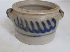 Antique German Westerwald Salt Glazed Stoneware Low Crock Cobalt Decorated