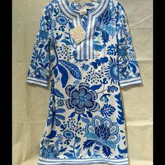 Gretchen Scott ¾ Sleeve, Split-Neck Tunic Dress Gretchen Scott ¾ Sleeve, Split-Neck Tunic Dress, NWT, color-Blue Chintz, various sizes, so cute for Spring/Summer! Gretchen Scott Dresses