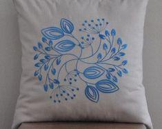 Blue Chrysant Pillow Cover Deep Blue Flower Beige by KainKain