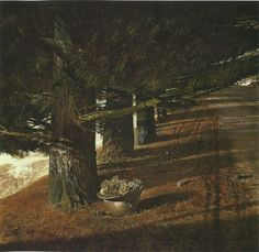 """Andrew Wyeth, 'Pine Baron', 1976, tempera on panel. ___Andrew Wyeth tells how he was suddenly struck by the view of this World War 1 helmet on the ground. It belonged to Karl Kuerner, who fought in the trenches during the War. """"My hair went on end. It's what Anna Kuerner thinks of war and her husband's army experiences. And she was using it just to carry the pine cones in to start the fire with."""""""